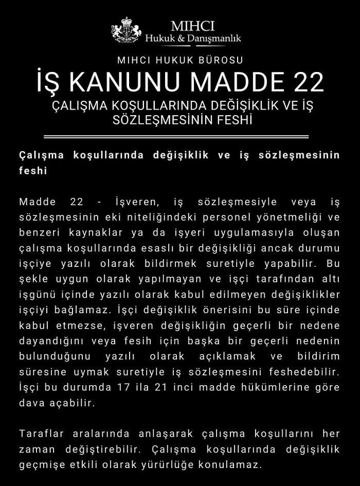 iş kanunu madde 22